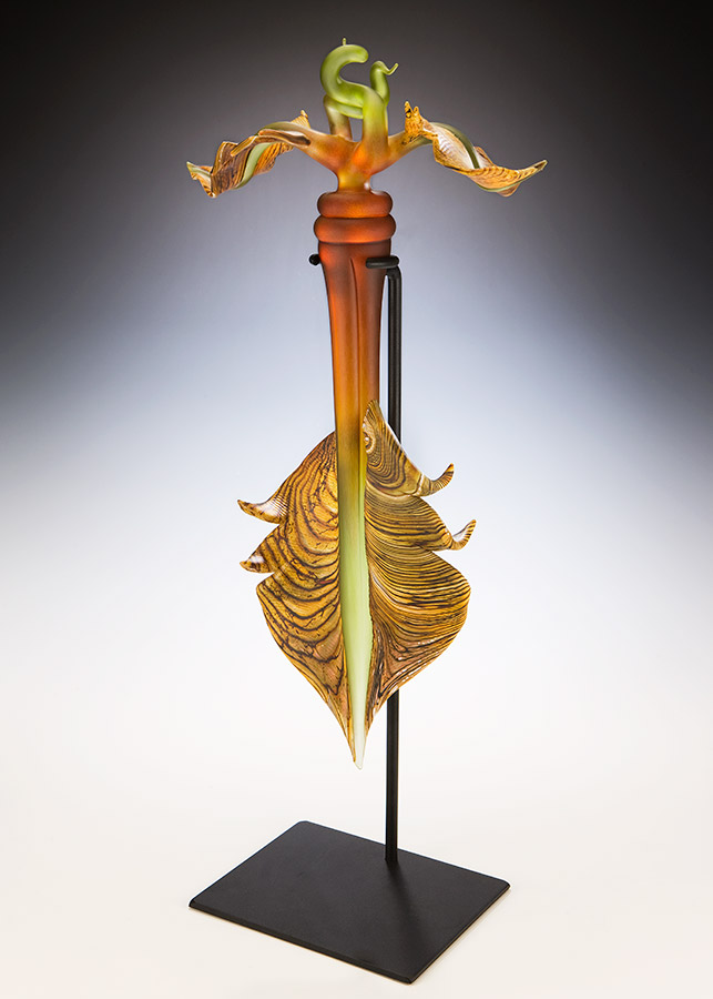 Talisman hand sculpted glass sculpture in gold, lime, and amethyst colors, hand forged steel base
