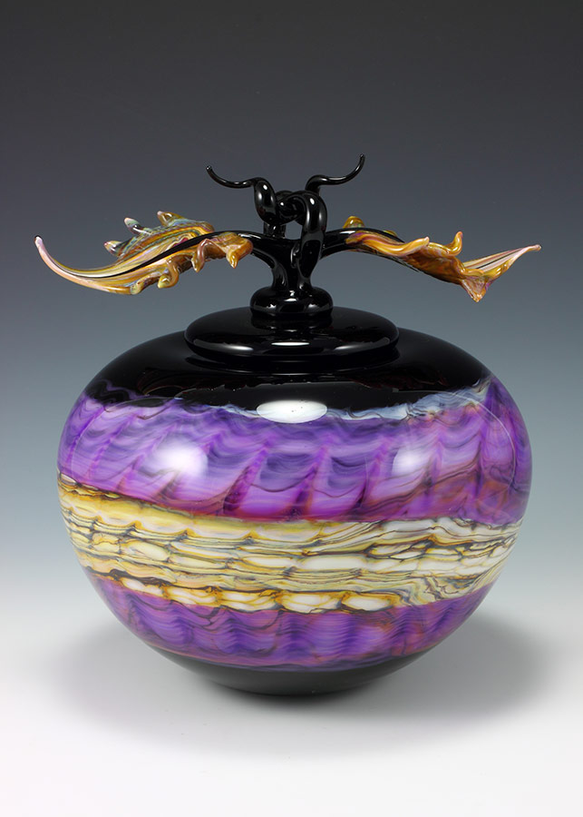 Art glass vessel in black opal and amethyst with sculpted avian finial lid