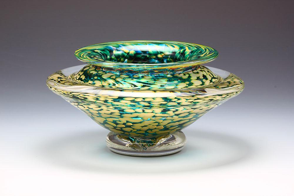 Hand blown glass ikebana flower bowl in emerald green