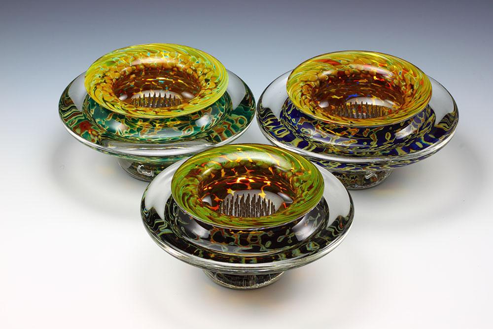 Blown glass silver opaque ikebana flower bowls