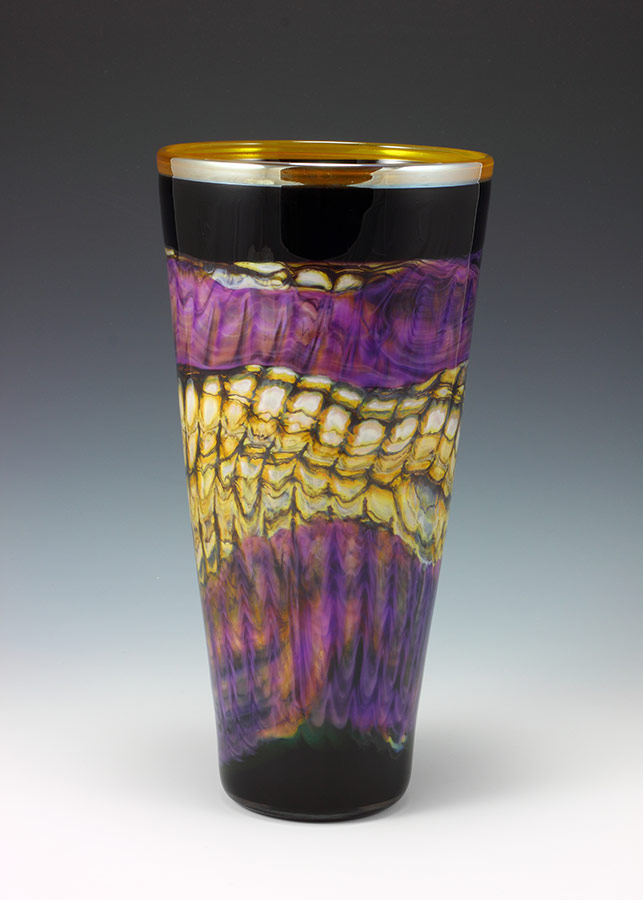 Hand blown art glass cone vase in black opal and amethyst
