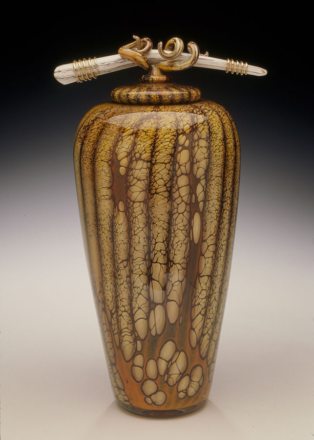 Hand blown glass vessel with sculptural glass bone finial lid from the Batik series