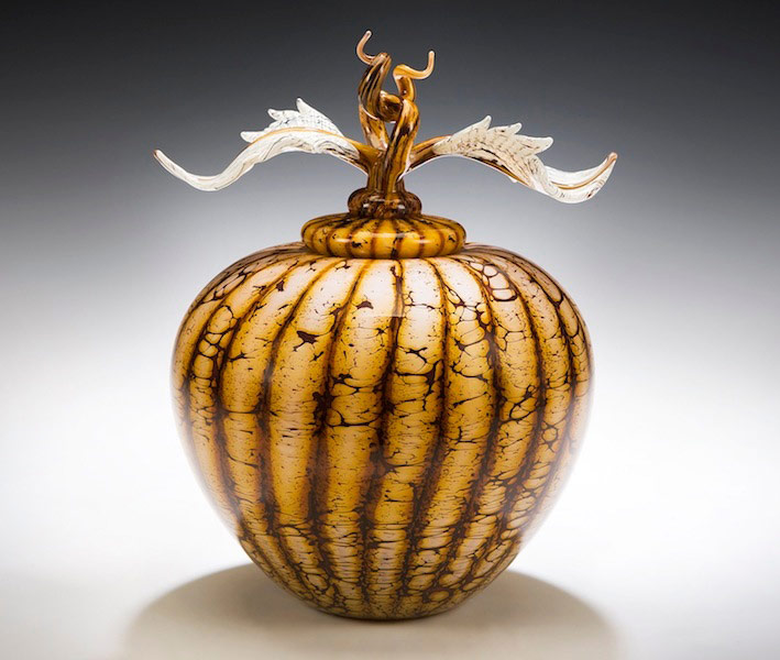 Hand blown glass covered vessel sphere with avian finial lid from Batik series