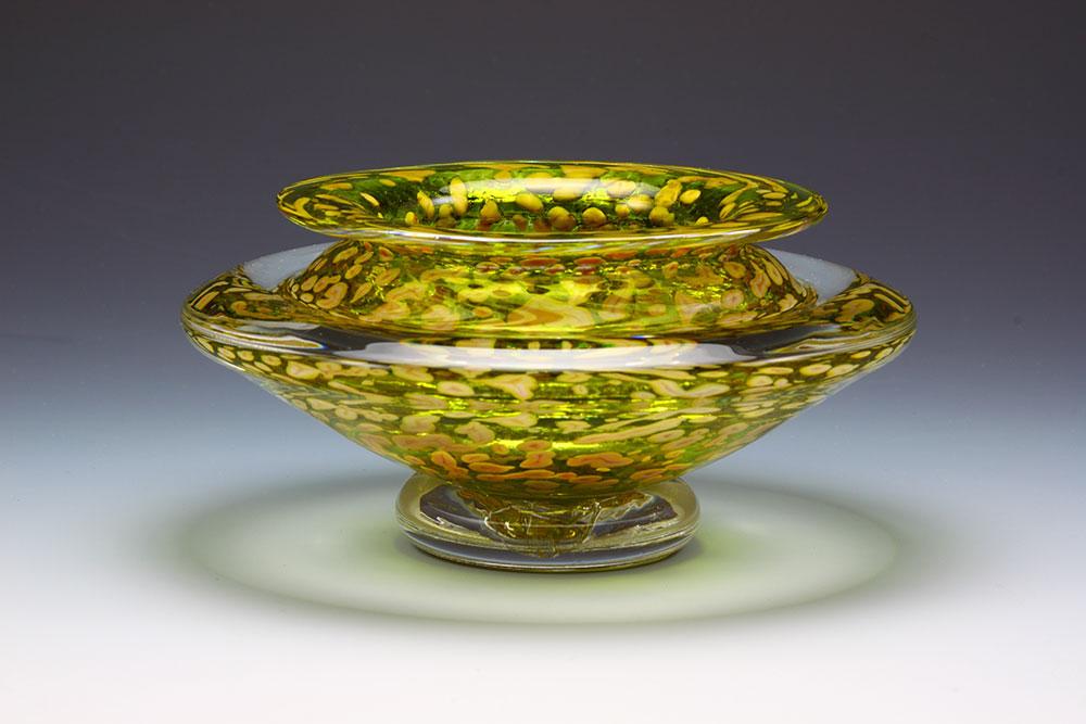Handblown glass ikebana flower bowl in citrus green