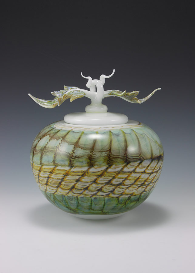Hand-blown glass urn vessel in white opal with sculpted avian finial lid