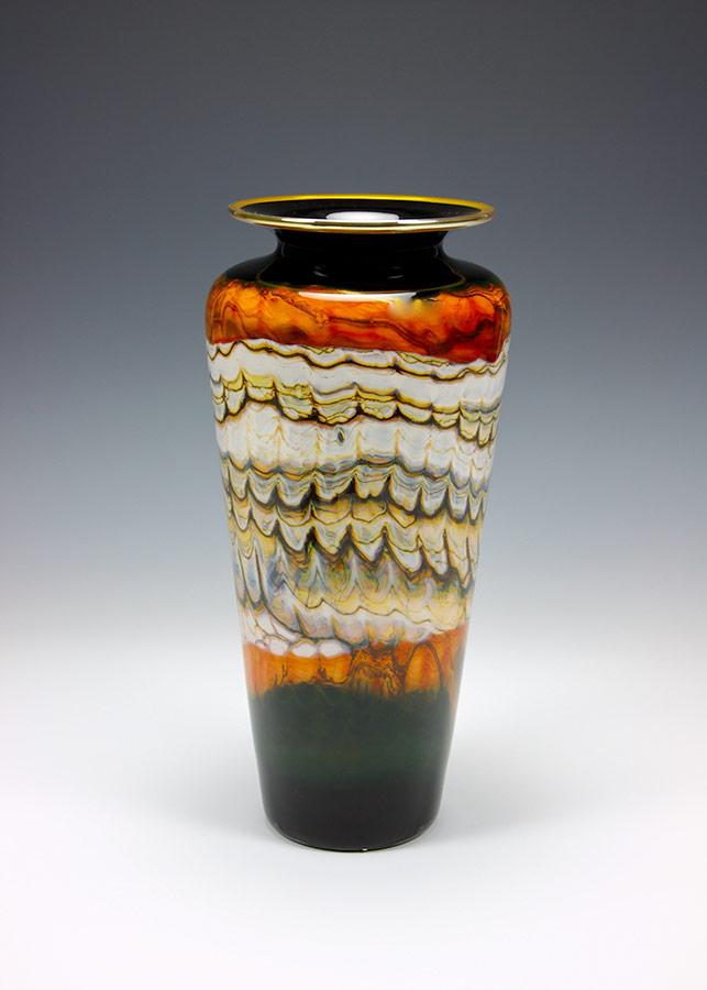 Hand blown art glass vase black opal with tangerine