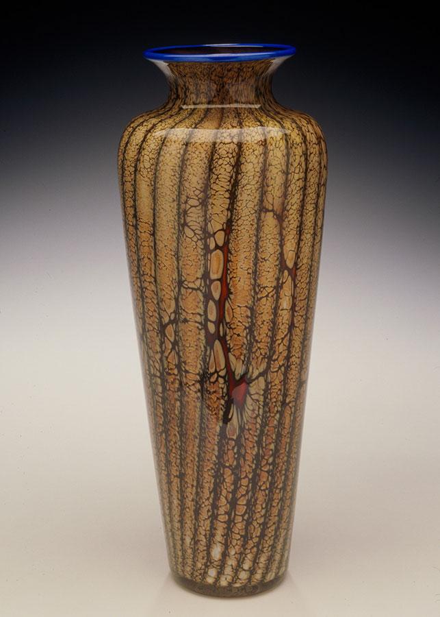 Handblown art glass vase from the Batik series
