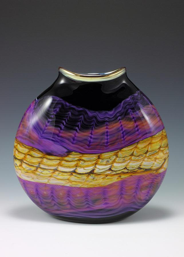 Handblown art glass flat vessel in black opal and amethyst