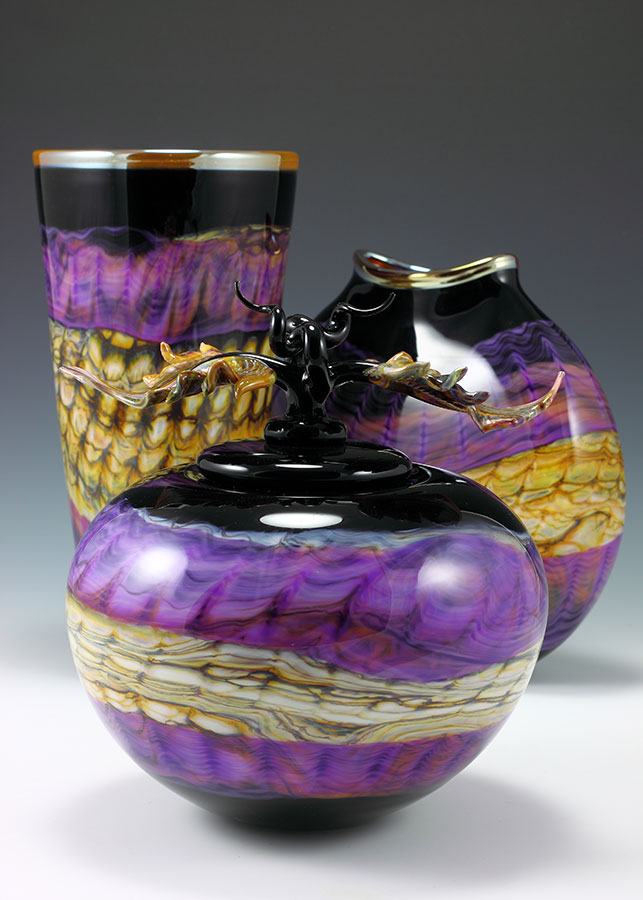 Hand blown glass vases & vessel amethyst group from the Black Opal series