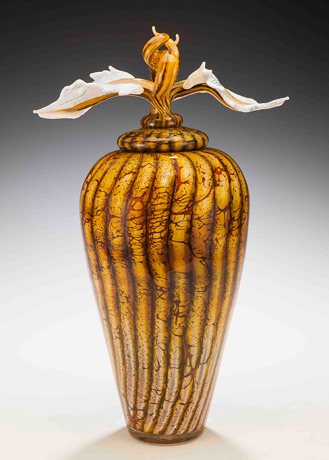 Handblown glass art vessel with sculpted glass finial lid from the Batik Series