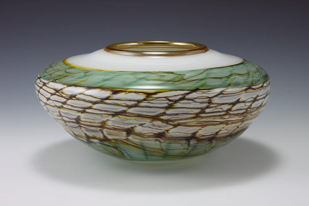 Handblown glass bowl in white opal