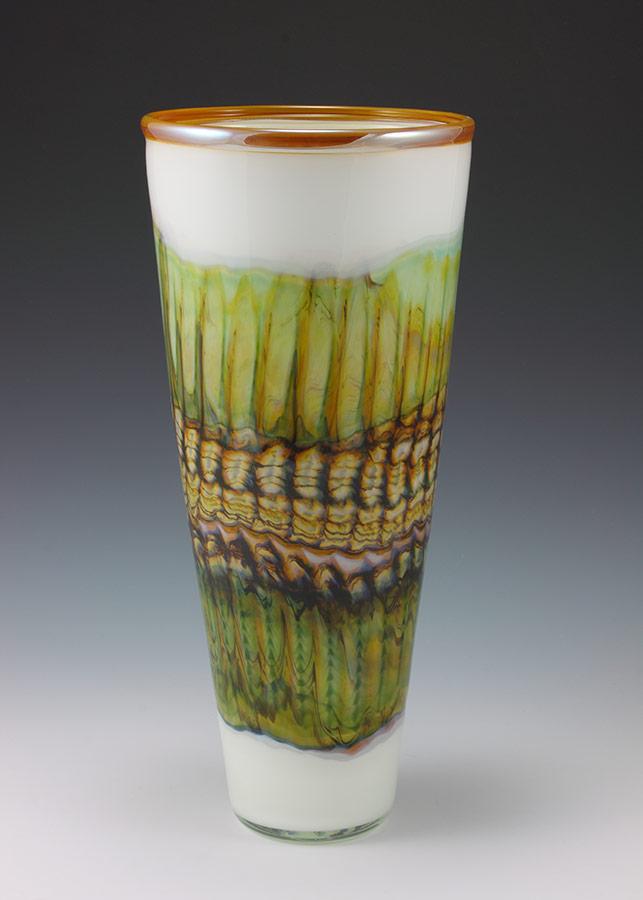 Handblown glass cone vase white opal color