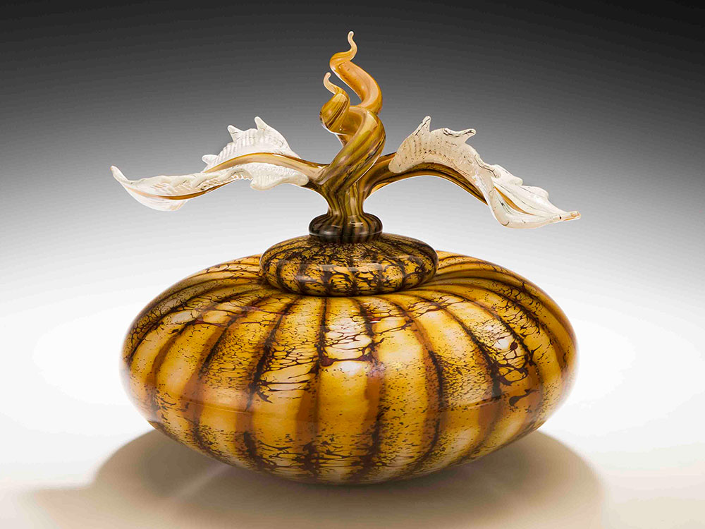 Handblown glass bowl with sculpted glass finial lid from the Batik series