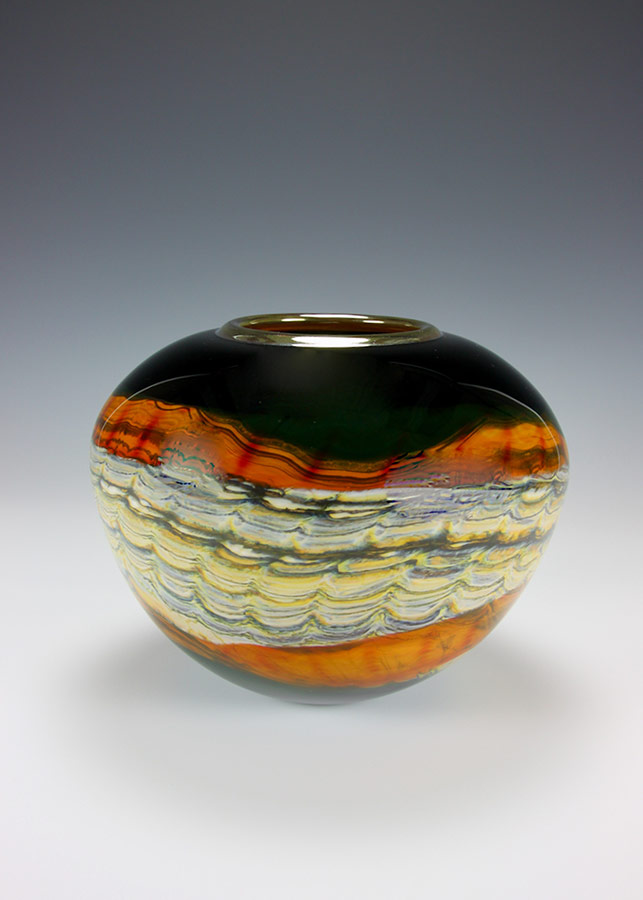 Hand blown glass vessel sphere from the black opal series
