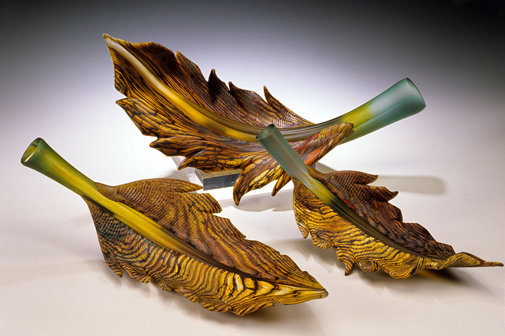 hand sculpted glass sculptures Arbor leaf group in sage, topaz, and gold colors