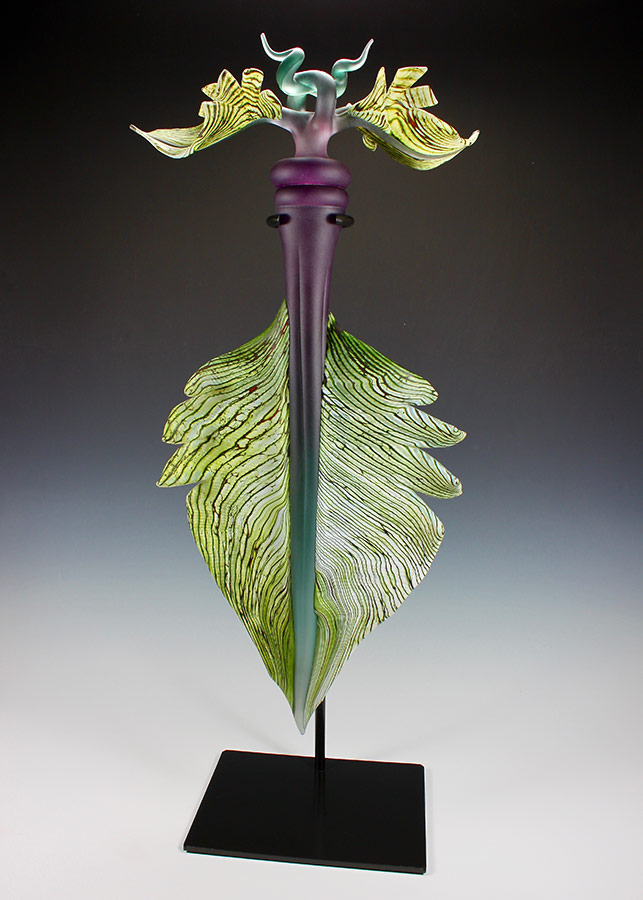 Talisman hand sculpted glass sculpture with hand forged steel base by Gartner Blade Glass