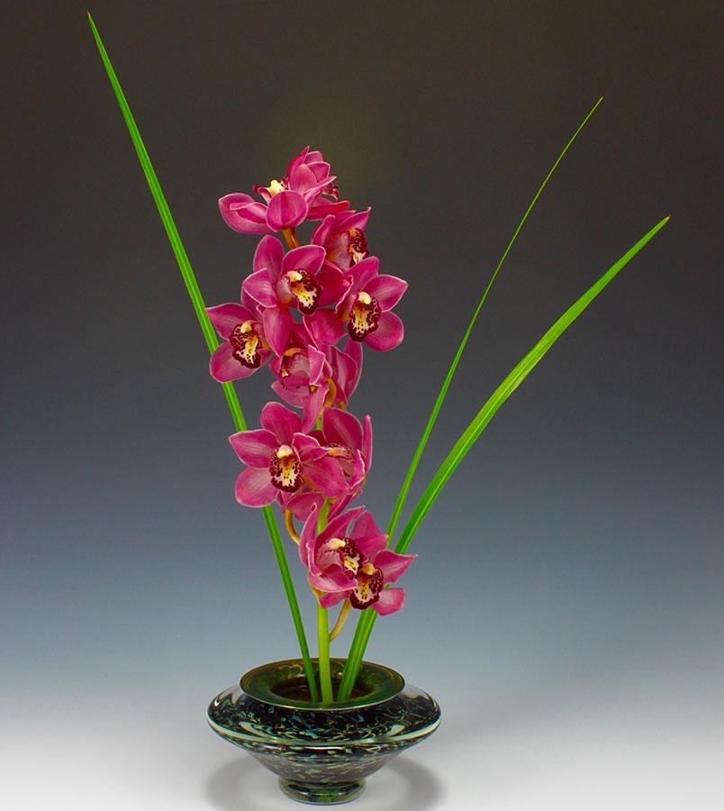 Handblown glass ikebana bowl in silver black for orchid floral arrangement