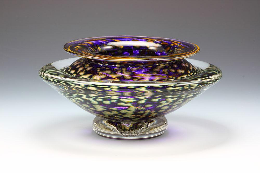Hand blown glass ikebana flower bowl in purple amethyst