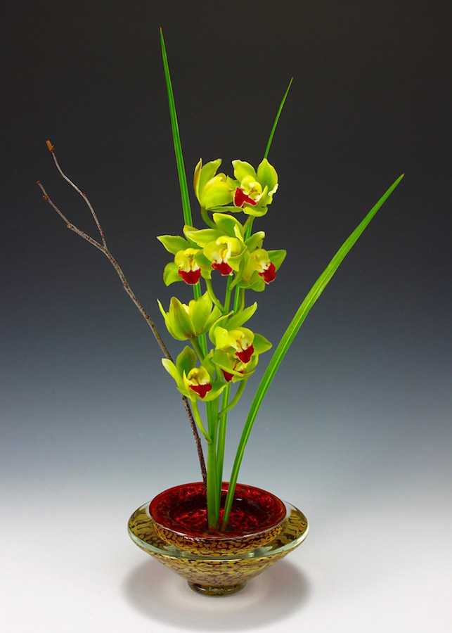 Hand blown glass ikebana bowl in ruby for orchid floral arrangement