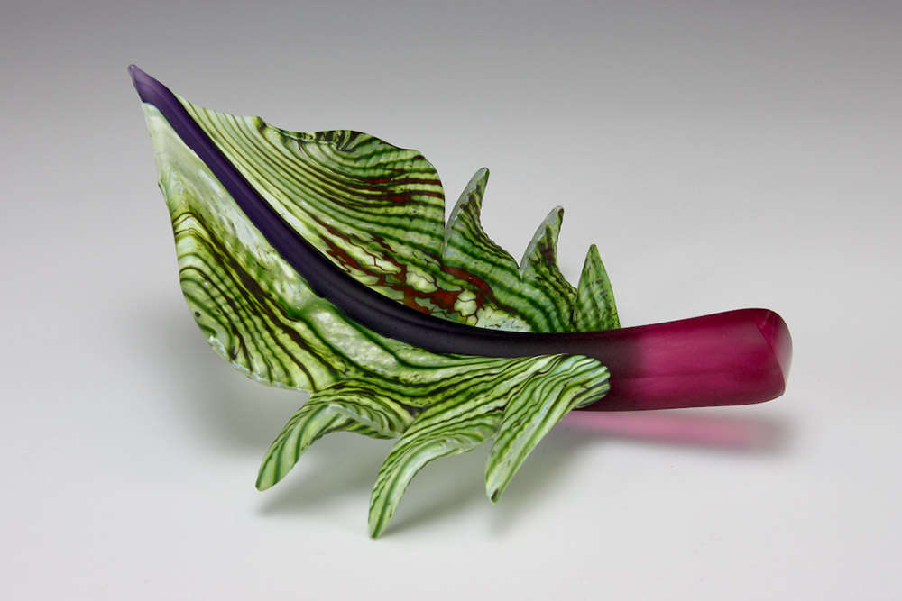Arbor Leaf glass sculpture in green color with ruby stem