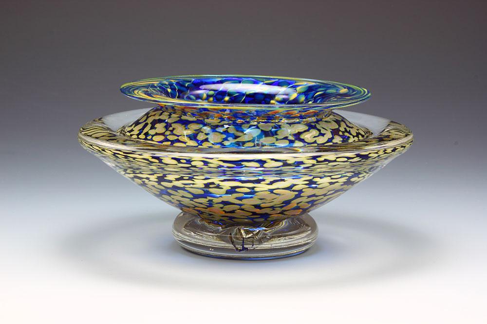 Handblown glass ikebana flower bowl in sapphire blue