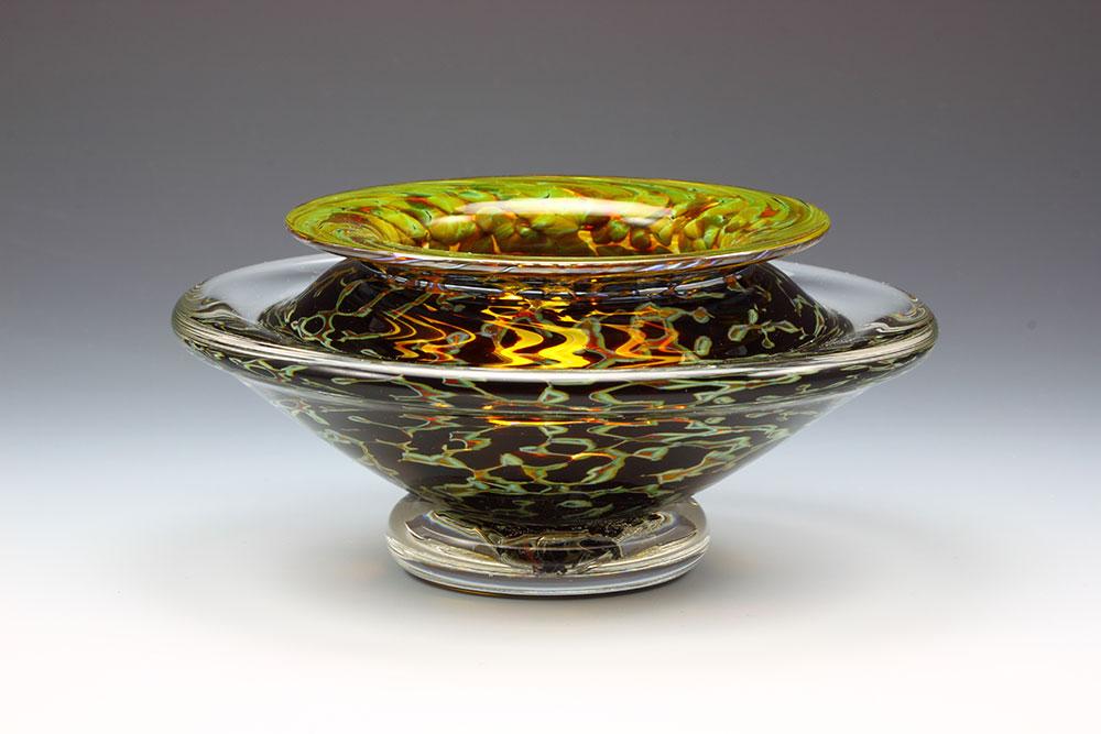 Hand blown glass ikebana flower bowl in Silver Black