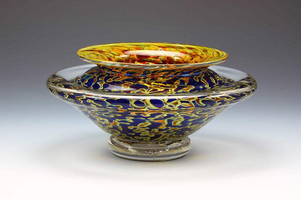 Hand blown glass ikebana flower bowl in silver blue