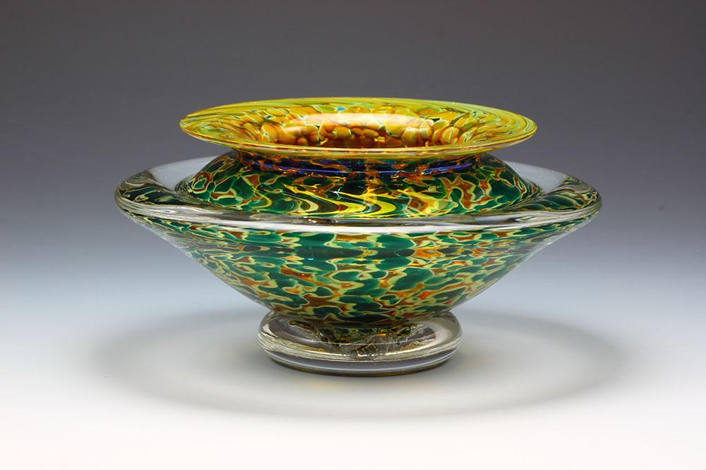 Handblown glass ikebana flower bowl in silver green