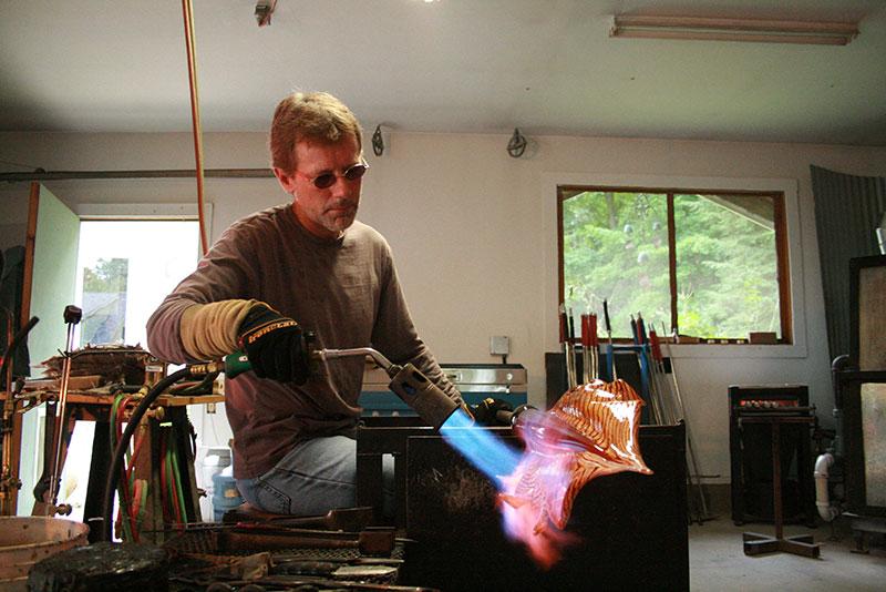 Stephen Gartner glass sculptor Arbor series in progress