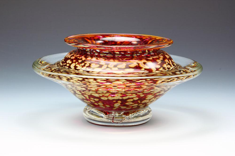Handblown glass ikebana flower bowl in ruby